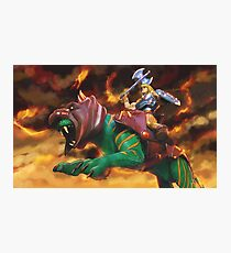 Battlecat and he-man Photographic Print