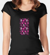 ART DECO BLACK PINK FUCHSIA FLOWERS,WHITE PARROTS Women's Fitted Scoop T-Shirt