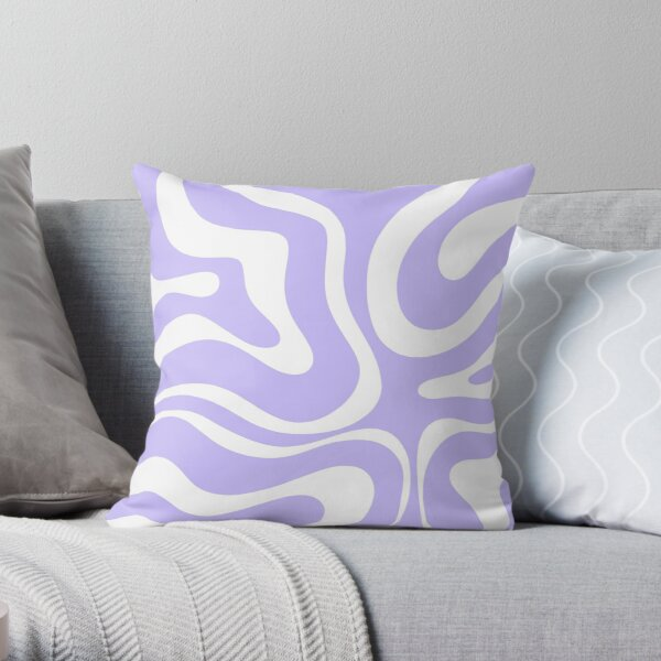 Retro Modern Liquid Swirl Abstract Pattern Square in Light Purple and White Throw Pillow