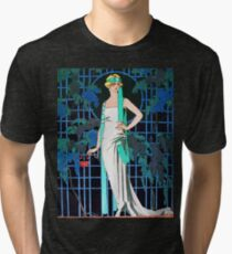 RED ROSES IN THE NIGHT, ART DECO BEAUTY FASHION Tri-blend T-Shirt