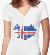 Iceland Distressed Map Flag Women's Fitted V-Neck T-Shirt