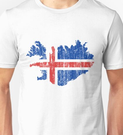 Iceland Distressed Map Flag T-Shirt