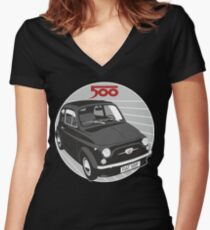 Fiat 500F black Women's Fitted V-Neck T-Shirt