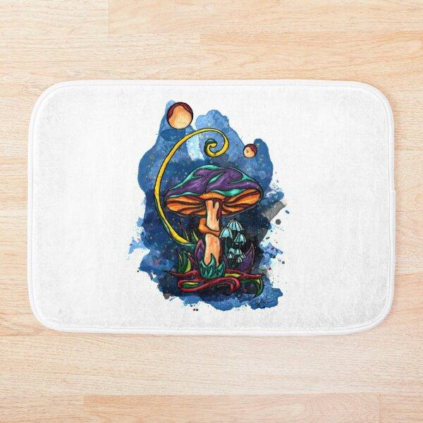 Champignon fantaisie sur fond bleu nuit Tapis de bain