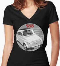 Fiat 500F white Women's Fitted V-Neck T-Shirt