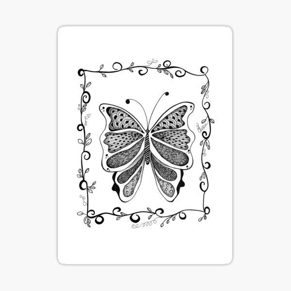 PAPILLON ZENTANGLE BUTTERFLY ZENTANGLE ZENDOODLE Sticker