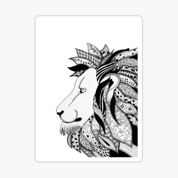 LION ZENTANGLE ZENDOODLE SOPHIE QUEUNIEZ Sticker