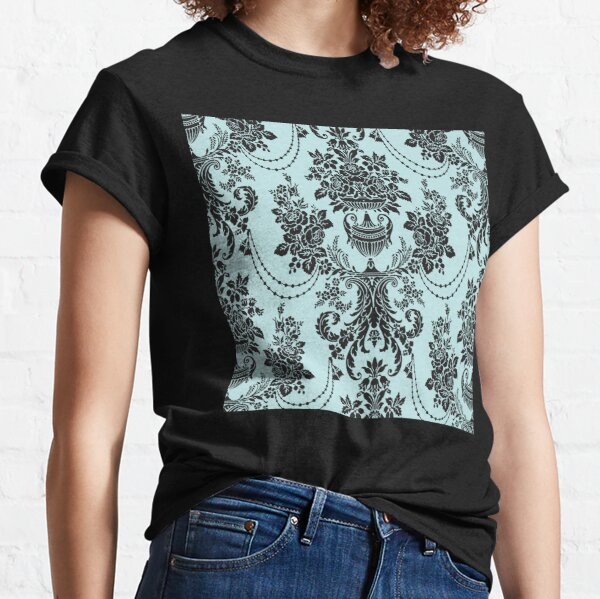 Geometric Blue & Bblack Damask Abstract Beautiful Vintage Pattern Art Design Classic T-Shirt