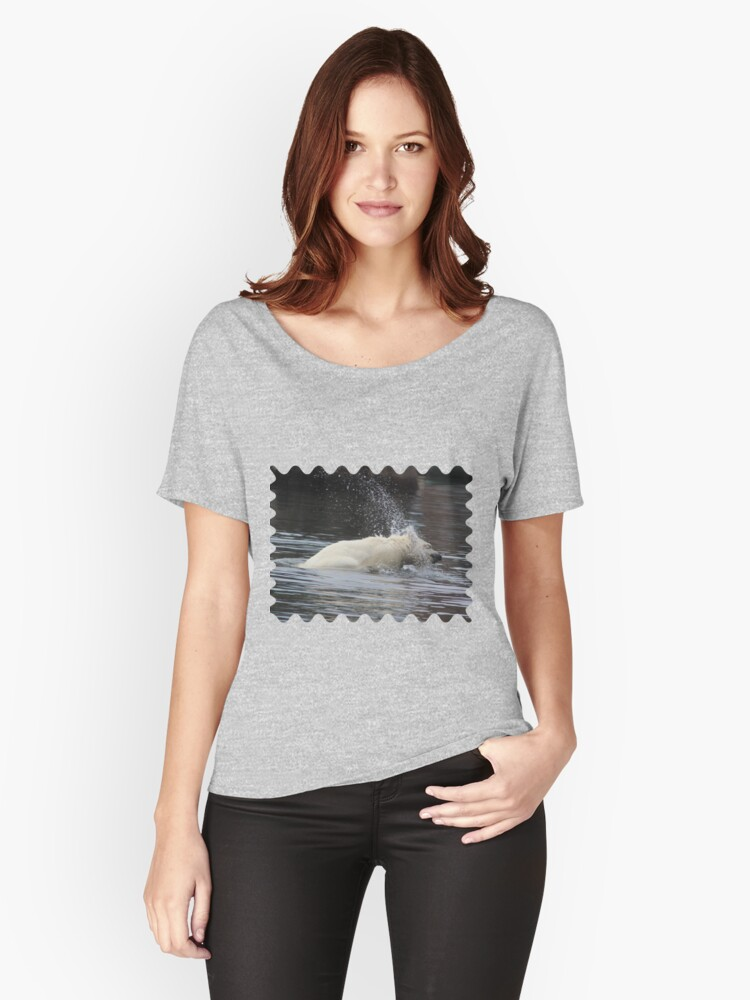 Polar Bear Splashing in the Water Women's Relaxed Fit T-Shirt Front