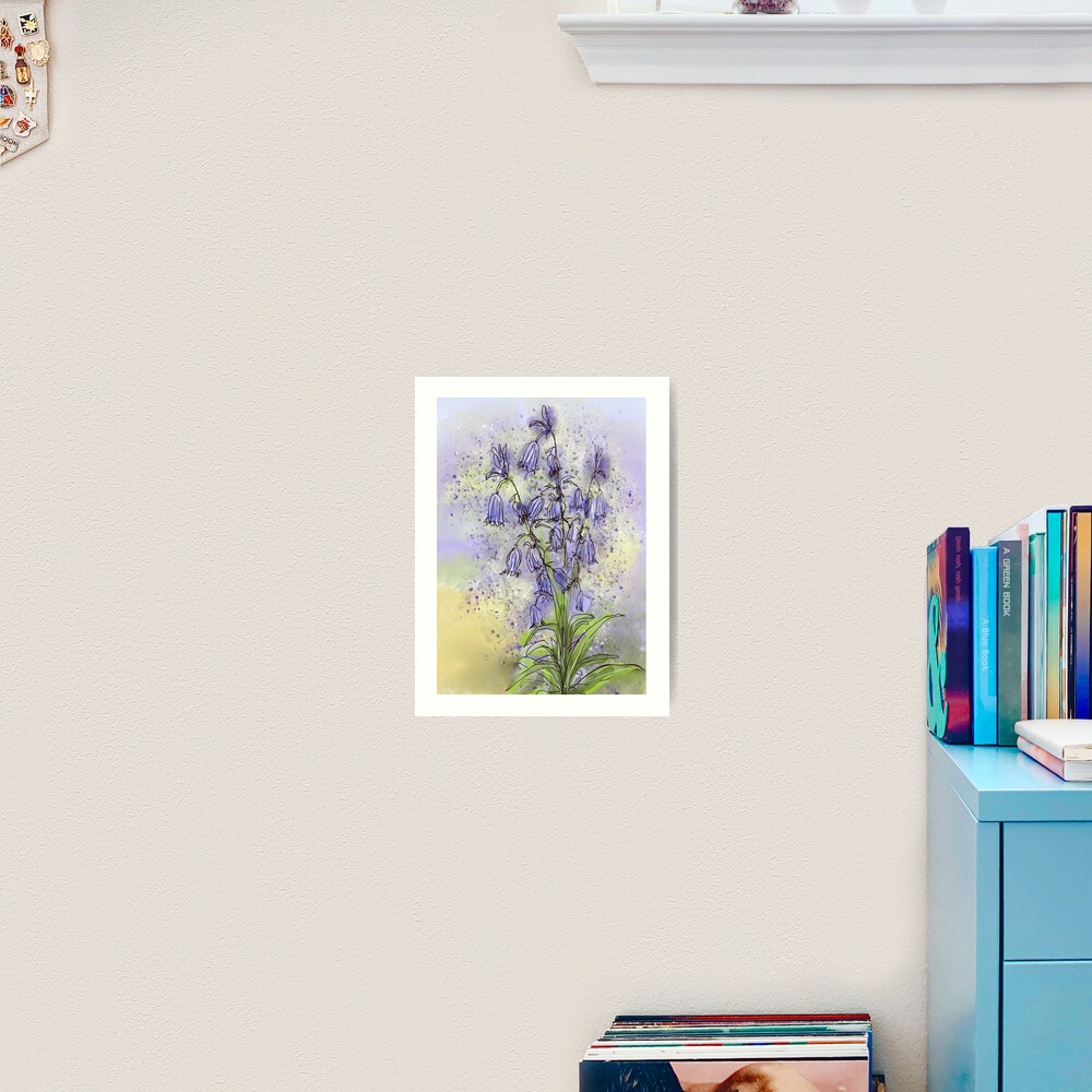 Whimsical Bluebells in Watercolour Art Print