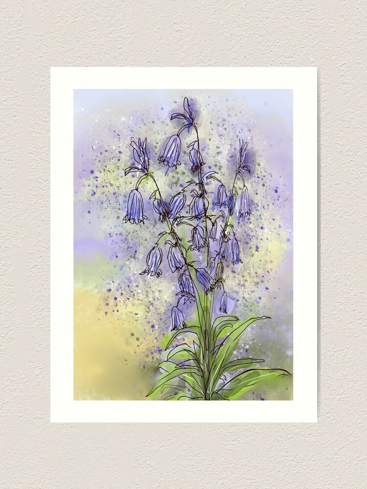 Alternate view of Whimsical Bluebells in Watercolour Art Print