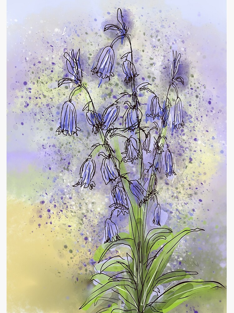 Whimsical Bluebells in Watercolour by ClareWalkerArt