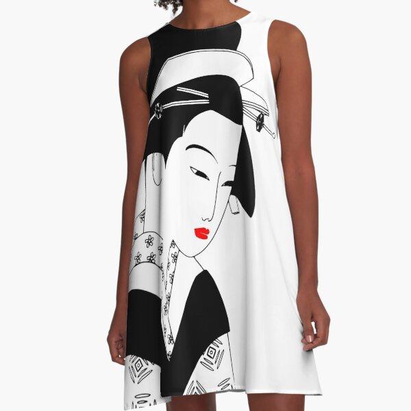 Japanese Geisha Art A-Line Dress