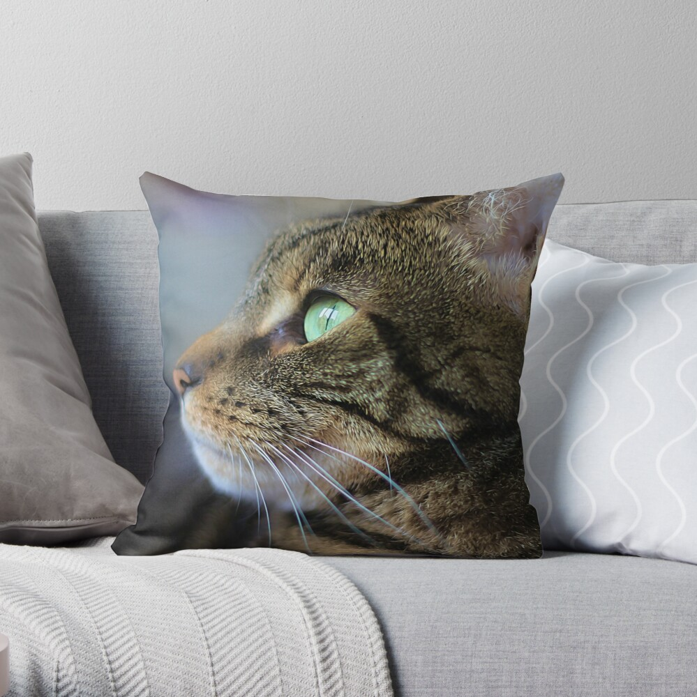Brown Tabby Cat Profile  Throw Pillow