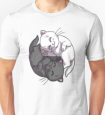 Kitten Kitty Yin Yang black and white sleeping circle T-Shirt