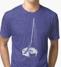 Sailboat (White) Tri-blend T-Shirt