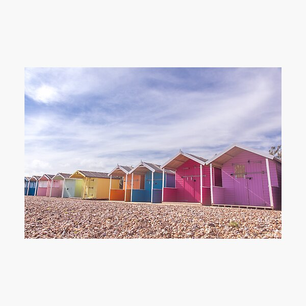 Row of colourful beach huts at Rustington, West Sussex Photographic Print