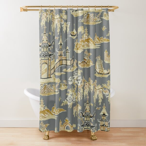 Vintage Wuhan Pagoda Garden Teahouse - Gray and Gold Chinoiserie Shower Curtain