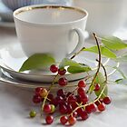 Still life with wild cherries by Julia Pärnänen