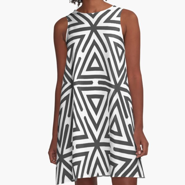 Gray Triangles Tribal Pattern A-Line Dress