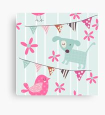 Whimsical Dogs, Birds, Banners, Flowers Canvas Print