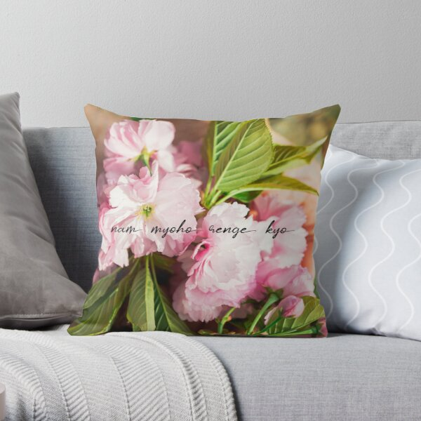 Nam Myoho Renge Kyo Cherry Blossoms Throw Pillow