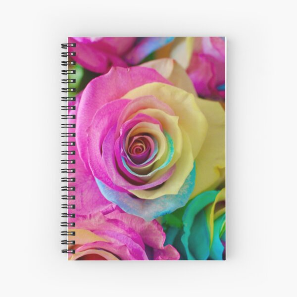 Neon Rainbow Roses Spiral Notebook