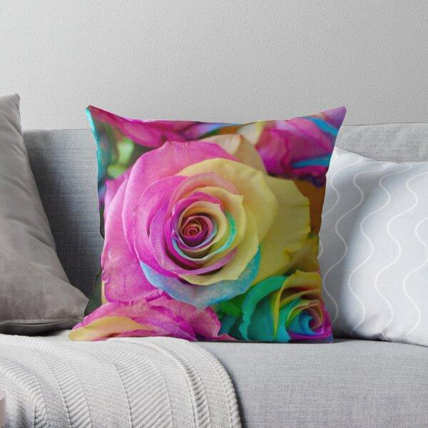 Neon Rainbow Roses Throw Pillow