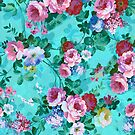 Colorful Pastel Flowers On Turquoise Blue Background by artonwear