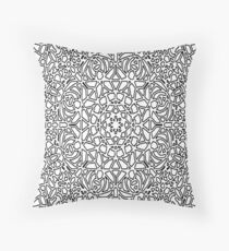Color your own clothes - Flower, black and white Throw Pillow