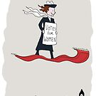 A suffragette on a flying carpet by Joel Tarling
