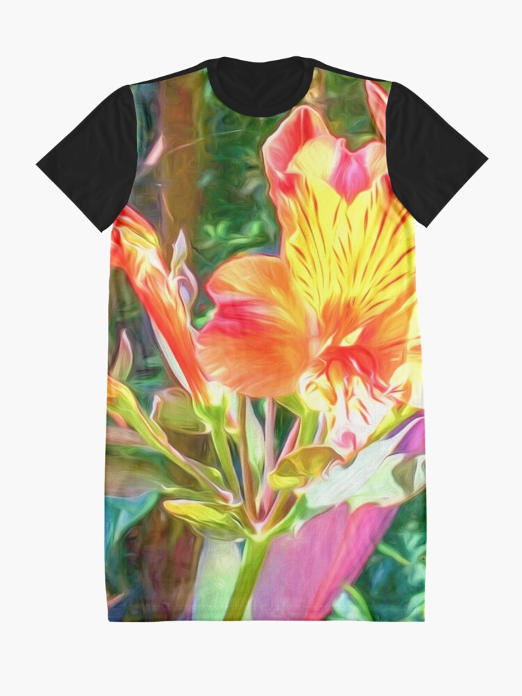 Alternate view of Alstroemeria Peruvian Lily Flowers Graphic T-Shirt Dress
