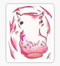 Pink/Orange Hippopotamus Sticker