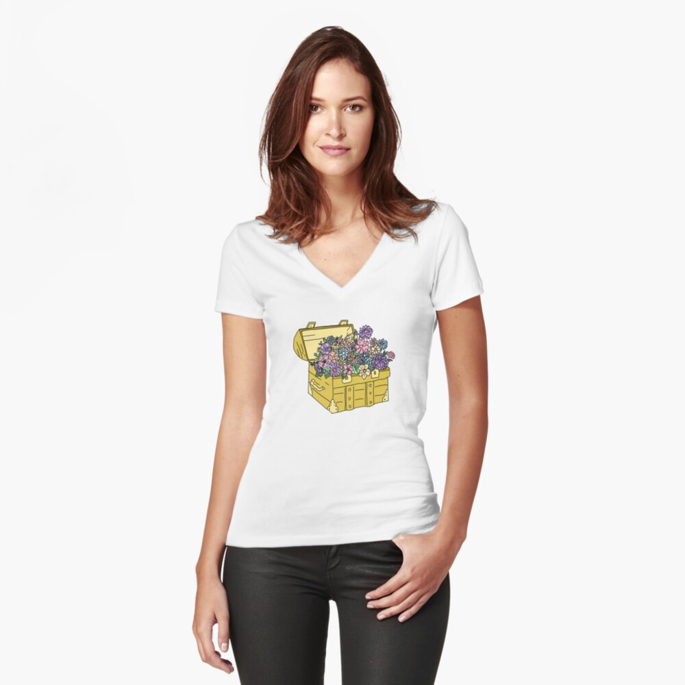flowers in treasure chest Fitted V-Neck T-Shirt