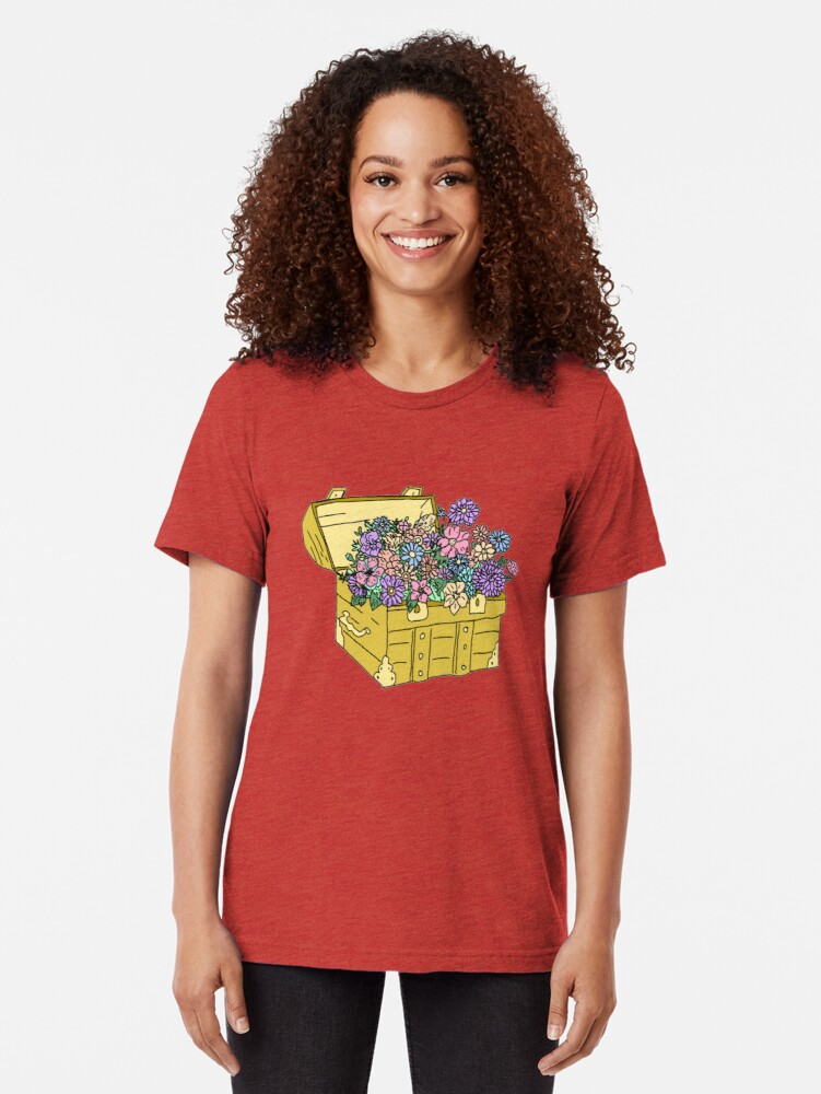 Alternate view of flowers in treasure chest Tri-blend T-Shirt