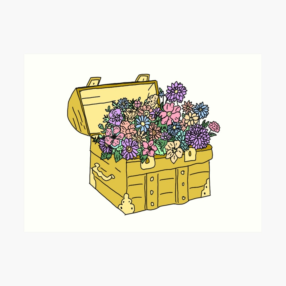 flowers in treasure chest Art Print