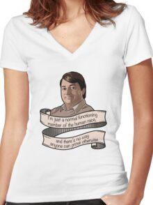 "Peep Show ""Mark Corrigan"" Women's Fitted V-Neck T-Shirt"