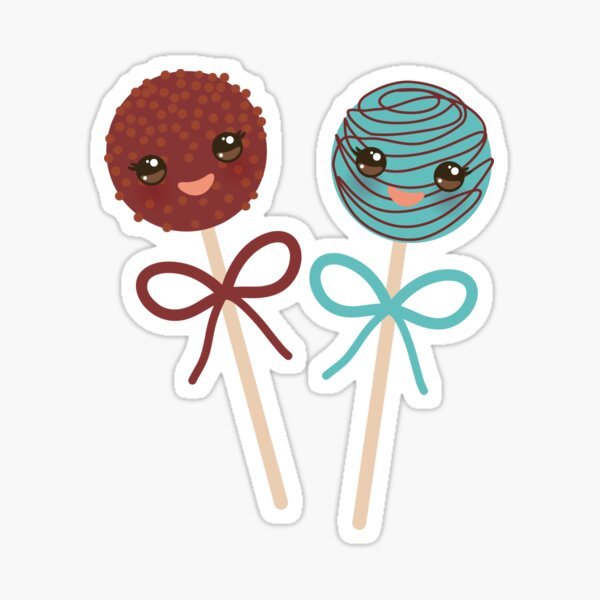 2 Yummy cakepops cute funny kawaii chocolate and blue Sweet Cake pops with bow Sticker