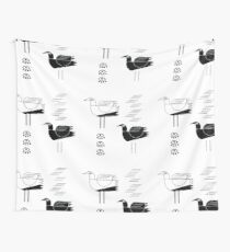 Black and white seagulls Wall Tapestry