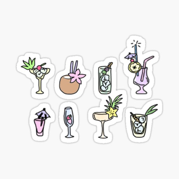 variety cocktail drinks Sticker
