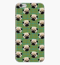 Pugs on Blue and Green Plaid iPhone Case