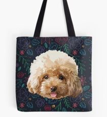 Flower Poodle Dog Tote Bag