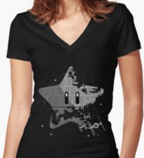 Super Death Star Women's Fitted V-Neck T-Shirt