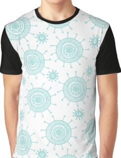 Beautiful seamless blue doodle flower pattern. Abstract cute background.  Graphic T-Shirt