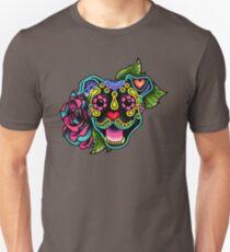 Smiling Pit Bull in Black - Day of the Dead Happy Pitbull - Sugar Skull Dog Unisex T-Shirt