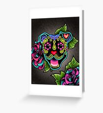 Smiling Pit Bull in Black - Day of the Dead Happy Pitbull - Sugar Skull Dog Greeting Card