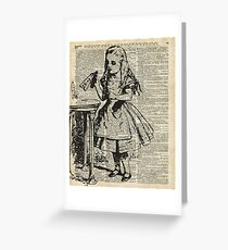 """Alice in The Wonderland """"Drink Me"""" Vintage Dictionary Art Greeting Card"""
