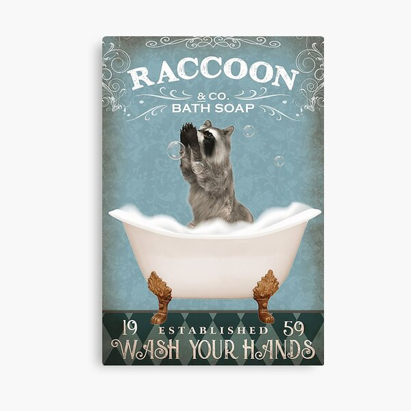 Raccoon and Co Bath Soap Wash Your Hands Canvas Print