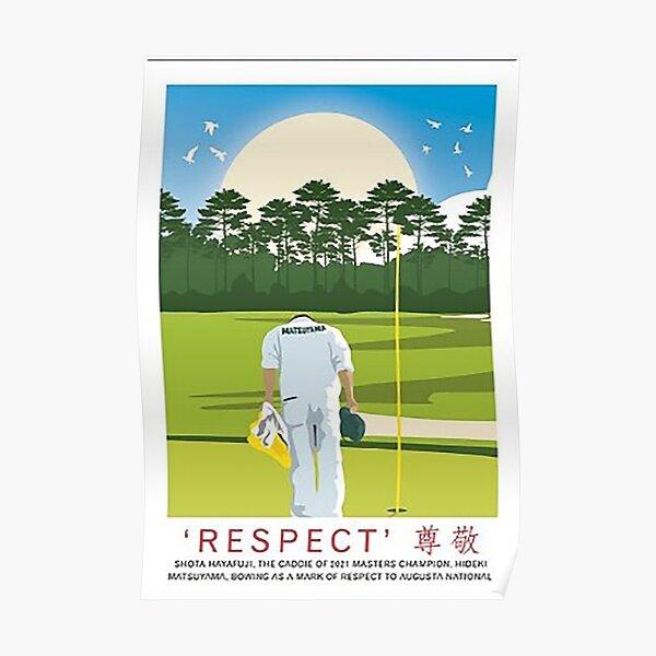 Augusta National US Masters Hideki Matsuyama Caddie Shota Hayafuji Amen Corner Travel  Poster