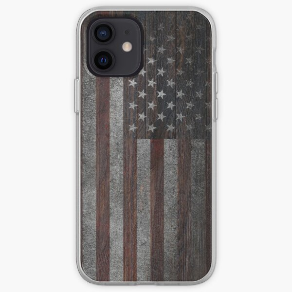 American Flag on Weathered Wood iPhone Soft Case